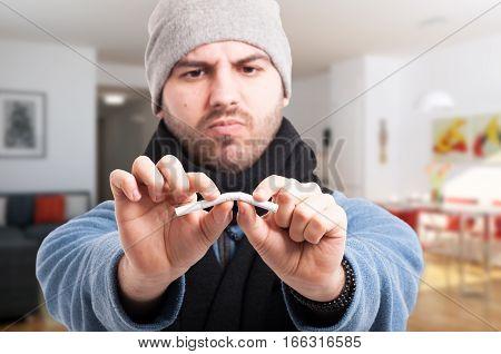 Handsome Man Quits Smoking
