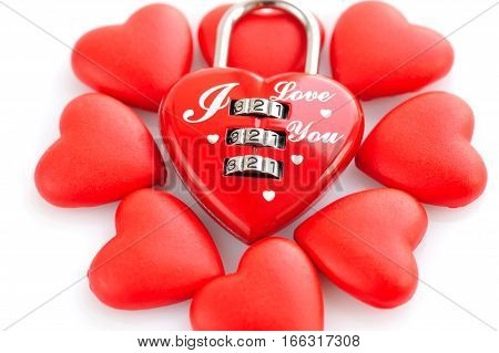 Padlock heart-shape with red hearts on white background