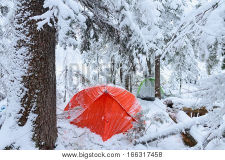 Red tent in winter forest. Tourist camp in snowy forest. Tent in the snow in winter