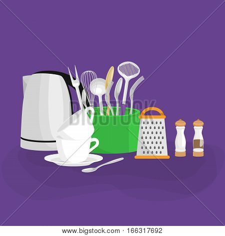 Cartoon kitchenware utensil collection.Steel kitchen household cutlery, cooking equipment.Steel and ceramic tools for cooking and kitchen utensils vector set.Illustration of household kitchen utensils