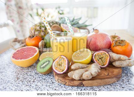 Fresh pressed fruit juice and exotic fruits