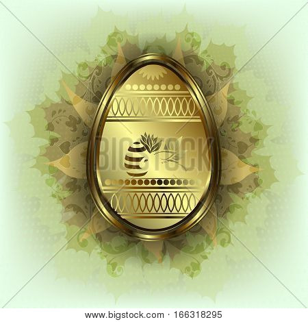 green gentle, affectionate design with a gold Easter egg with a silhouette of the rabbit, leaves and patterns