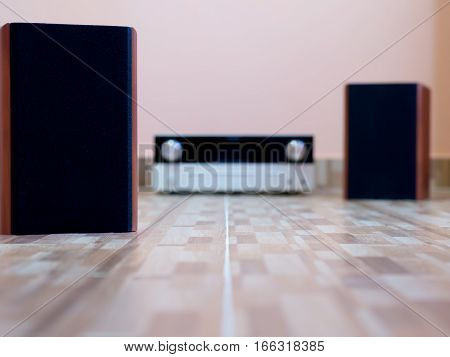 Audio speakers on the floor. music concept.