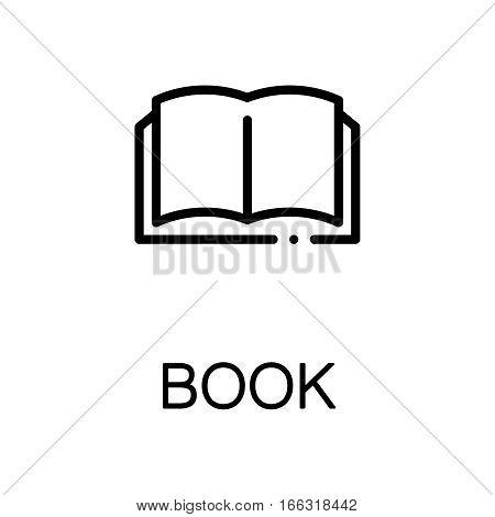 Book icon. Single high quality outline symbol for web design or mobile app. Thin line sign for design logo. Black outline pictogram on white background