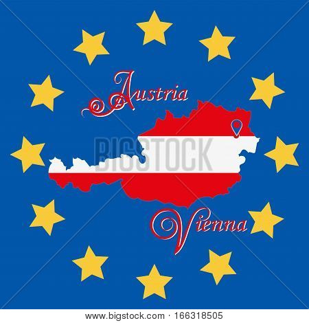 Austria. Symbols. Map. Vector image. Design logo, sign to illustrate books, brochures, flyers, use on websites, Souvenirs and maps.