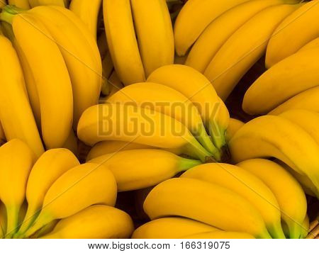 Bunch of nice yellow bananas in an outdoor market
