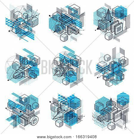 Lines And Shapes Abstract Vector Isometric 3D Backgrounds. Layouts Of Cubes, Hexagons, Squares, Rect