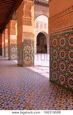 MARRAKESH, MOROCCO: Courtyard of the Medersa Ben Youssef