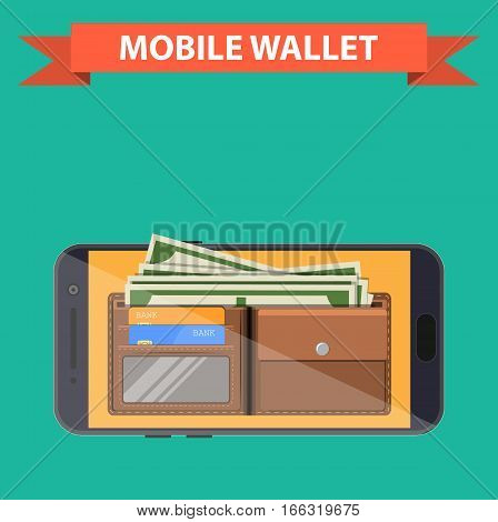 digital mobile wallet icon. smartphone screen with wallet and credit cards on screen. Internet banking concept. wireless money transfer. vector illustration in flat style