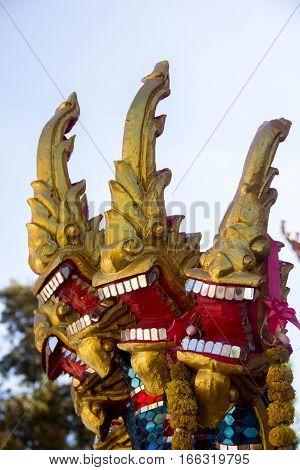 king naga thai dragon statue in thai temple