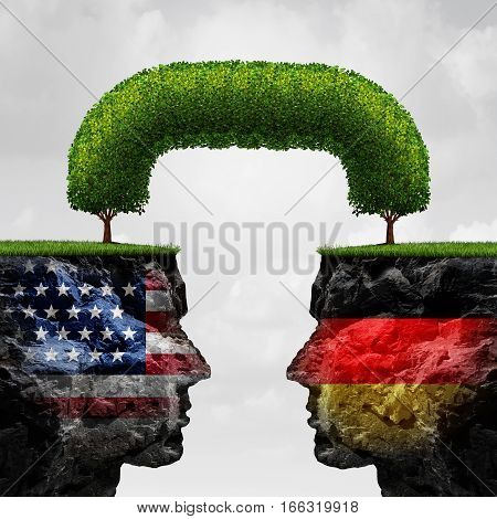 American German cooperation or Germany United states partnership and international trade and political agreement as two cliffs united together by a connected tree with 3D illustration elements.