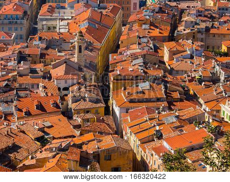 Red tiled rooftops of French Riviera town of Nice, France
