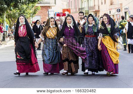SELARGIUS, ITALY - September 13, 2015: Former marriage Selargino - Sardinia - Parade of folk group Guasila