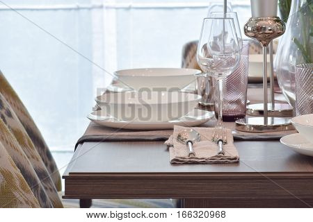 Elegance dining set on wooden dining table