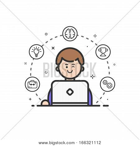 Vector illustration of colored icon in flat line style. Linear cute and happy man with laptop. Graphic design concept of art Director use in Web Project and Applications Outline isolated object.