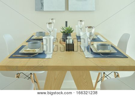 Wooden dining table with dining set in modern style decorative
