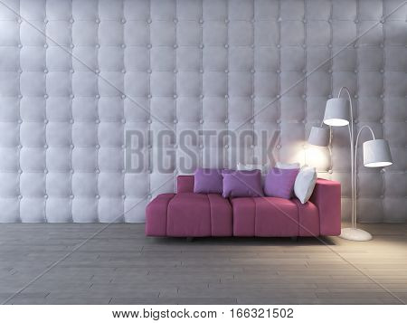 3d rendering image of interior design living room. pink sofa set and white desk lamp place on the wooden floor which have leather wall as background. Valentine day concept