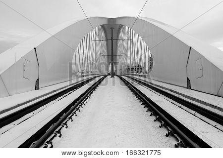 Troja Bridge, Prague City. Modern Architecture Detail. Abstract Architecture Background.