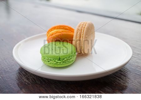fresh macaroons in outdoor bakery house cafe
