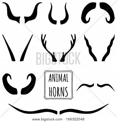 Hand drawn black silhouettes set of animal horns made in vector. Deer, sheep, antelope, bullock horns