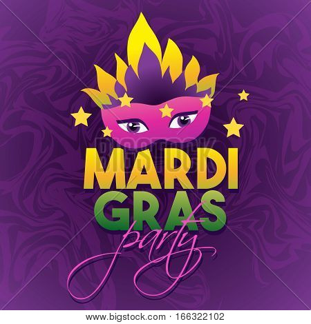 Mardi Gras Logo Poster. Carnival type treatment. Party Mask Poster. Calligraphy and Typography Card.Holiday poster or placard template. Vector illustration.