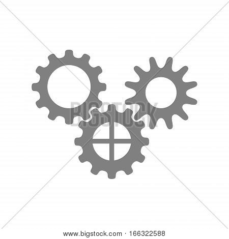Set of three gears. Isolated illustration on white background.