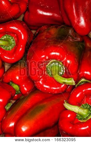 Red peppers background. Pile. Whole background of red peppers. Full of details.