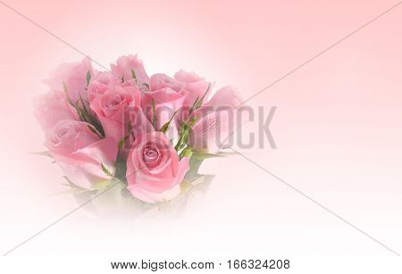 Beautiful bouquet of pink roses flower made with color filters