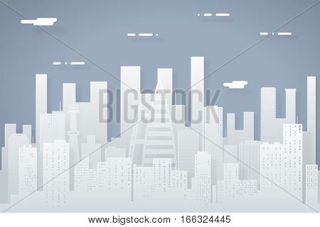 Paper Silhouette Seamless Urban Landscape City Real Estate Summer Background Flat Design Concept Icon Template Vector Illustration