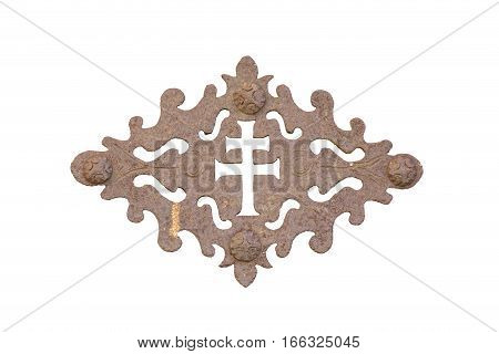 old wrought door decoration isolated on white