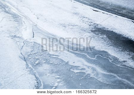 Ice Covered With Show On Frozen River