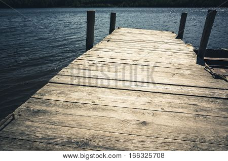 Empty Wooden Pier, Vintage Toned