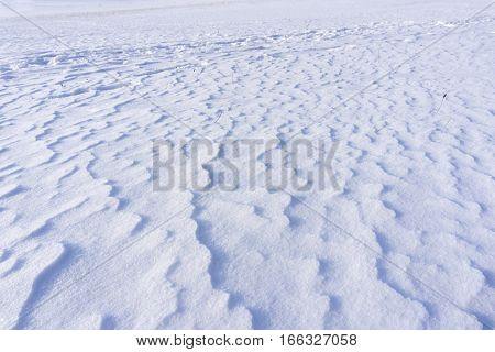 Snow Drifts. Winter. Snowy Ground. Nature in Winter