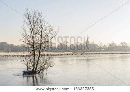 Leafless branches in the foreground of a frozen river. In the background is the edge of a small village. It is still early in the morning of a beautiful day in the Dutch winter season.