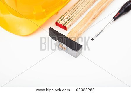 Hard Hat And Tools On White Background