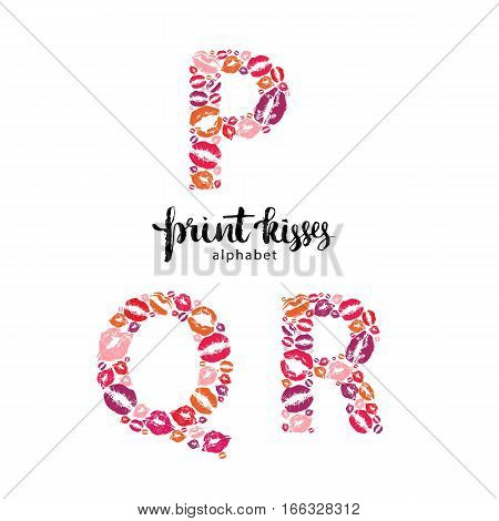 Set of letters  P, Q and R, made from print kisses,  part of a complete alphabet collection for your writing or design