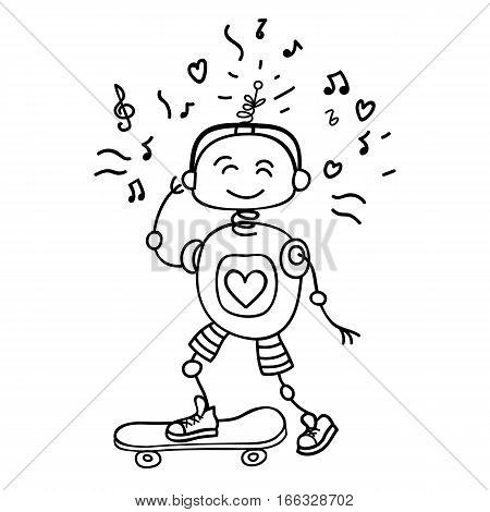 Cute vector character illustration of a robot rolling on a skateboard. Perfect for a childrens cartoon design childrens shop childrens clothes. Hand draw the outline of the robot
