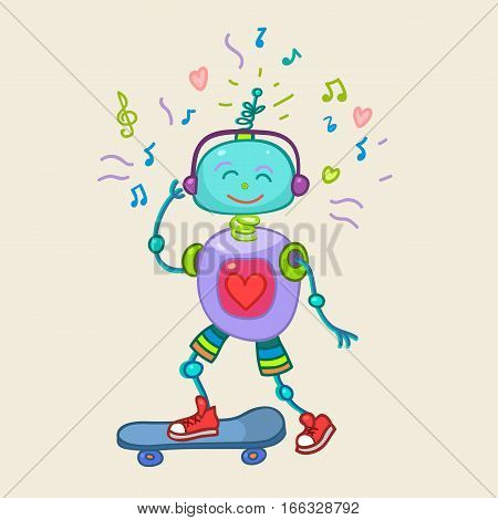 Cute Colorful vector character illustration of a robot rolling on a skateboard. Perfect for a childrens cartoon design childrens shop childrens clothes. Hand draw the outline of the robot