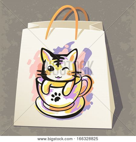 Cat in a cup in the sketch style. Cute print, suitable for paper, clothing, packaging, textiles, souvenirs