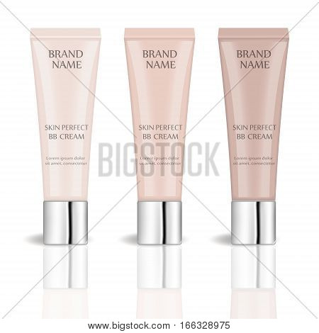 BB cream realistic package set with different shades, isolated on white background. 3d tube mock-up product cosmetics. Vector illustration