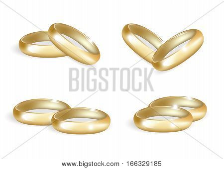 Realistic wedding gold rings set. 3d wedding bands collection isolated on white background. Vector illustration