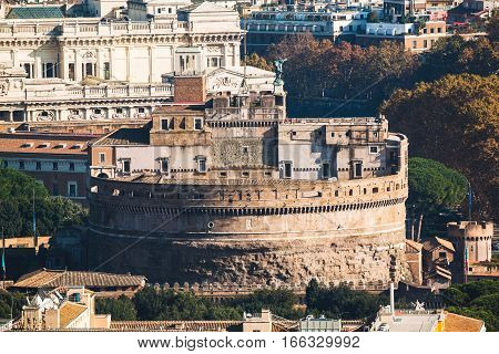 Close Up View Of Castle Sant'angelo Taken From St Peter Basilica.