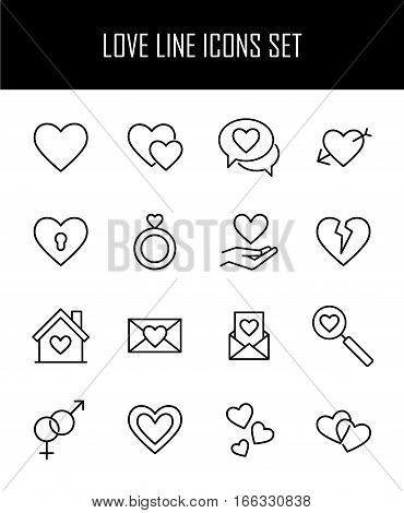 Set of love in modern thin line style. High quality black outline heart symbols for web site design and mobile apps. Simple romance  pictograms on a white background.