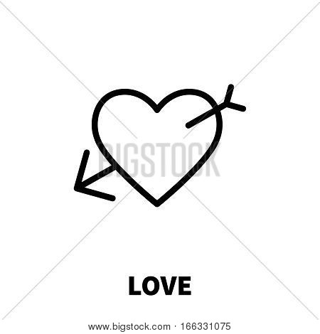 Love icon or logo with heart in modern line style. High quality black outline pictogram for web site design and mobile apps. Vector illustration on a white background.