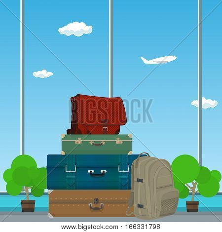 Retro Colored Suitcases and Trolley Suitcase and Travel Bag against the Window in the Waiting Room at the Airport , Luggage Bags for Traveling, Travel and Tourism Concept , Vector Illustration