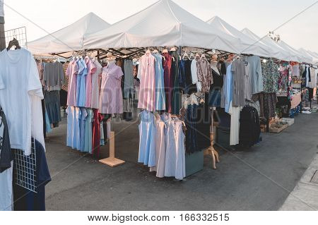 Business Mall Concept : Many Colorful Fashion Clothes Sale In Shop At Market