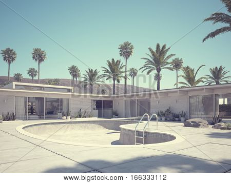 3d rendering. View of swimming pool and modern home exterior.