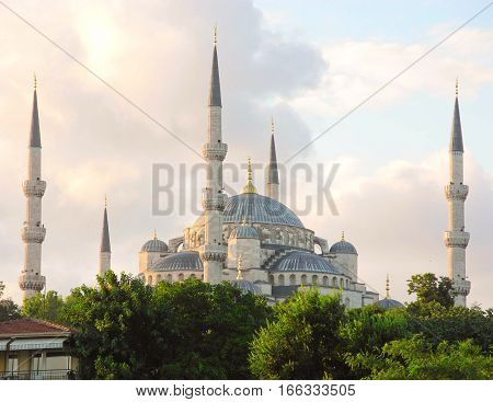Minarets of famous Blue Mosque at sunset Istanbul.