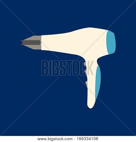 Hairdryer Flat Icon On Blue Background. Vector Illustration.