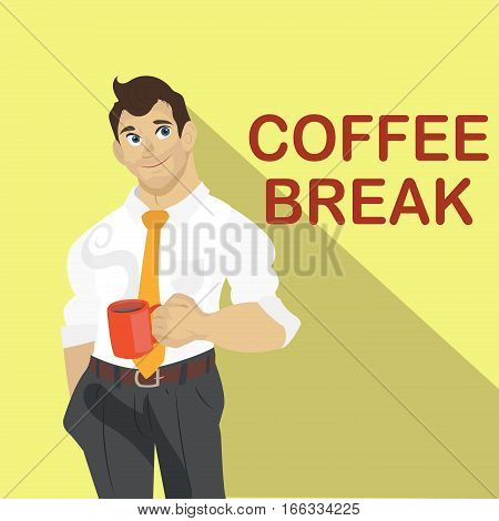Business man coffee break. Break time concept. Flat style design vector illustration.